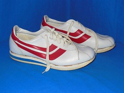 vintage 80s TRAX RUNNING JOGGING SNEAKERS WHITE RED SHOES 9.5 LIGHTLY WORN