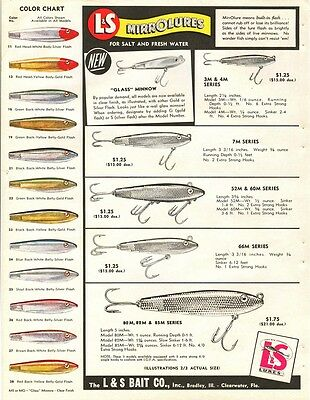 Vtg 1955 L & S Mirrolures Advertising - 2 Sided Pg W/ Many Models & Color Chart
