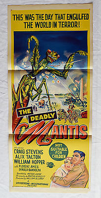 THE DEADLY MANTIS RARE DAYBILL MOVIE POSTER HAND LITHO 1957, F. CUNNINGHAME & Co