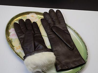 Vintage High End Fur Lined Buttery Soft Chestnut Brown Ladies Leather Gloves EXC