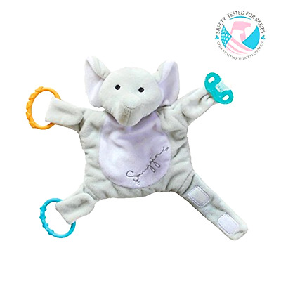 Pacifier Holder Snuggin The Comforting Sleep Miracle for Babies Gray Elephant