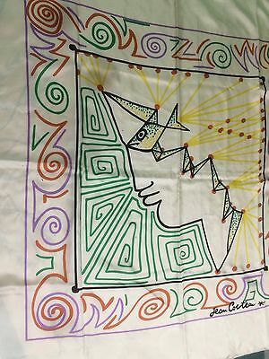 Vintage Jean Cocteau Face And Fish Large Silk Scarf