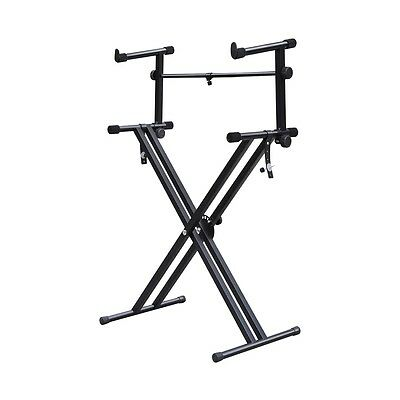 Quality Heavy-Duty X Style Dual Keyboard Stand Electronic Piano Double 2-ti Q2O4