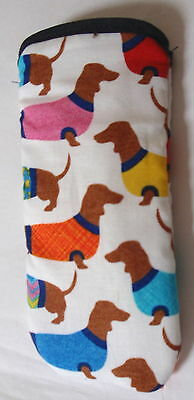 BN-DACHSHUNDS IN JUMPERS - GLASSES CASE - cotton- ideal small gift