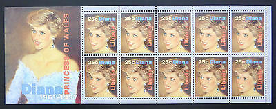 LIBERIA Wholesale Diana Sheetlet of 10 x 100 U/MNEW LOWER PRICE FP1143