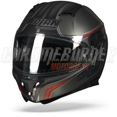 Nolan N87 Rapid N-COM 016 Flat Grey Lava Red, Full-face helmet, N Com, NEW