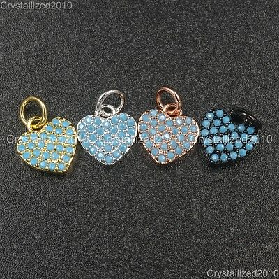 Natural Gemstones Turquoise Pave Heart Bracelet Connector Charm Pendant Beads