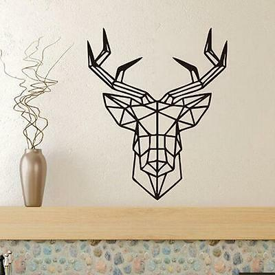 Geometric Deer Head Room Wall Decals Art Stickers Mural Home Vinyl Family Quote