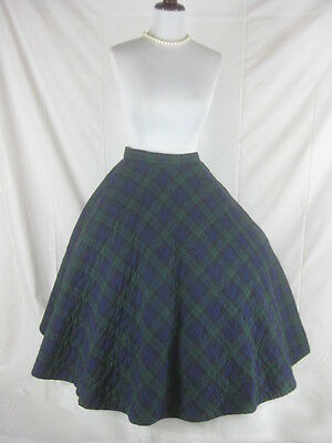 Vtg 50s 60s Blue Green Womens Vintage Quilted Plaid Full Circle Skirt W 26