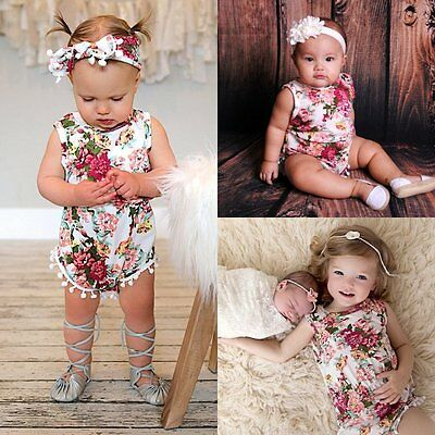 Newborn Toddler Infant Baby Girl Romper Jumpsuit Bodysuit Outfit Sunsuit Clothes
