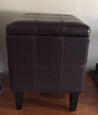 Ottoman Storage Stool Toys Storing Seat Footstool Home Organizer Faux Leather