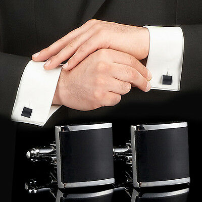 SUP Black Stainless Steel Mens Wedding Party Gift Shirt Cuff Links Cufflinks New