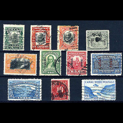 PANAMA Canal Zone. Selection. 11 Values. Inc 1914  Postage Due 10c Used. (AM074)