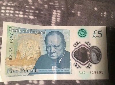 AA01 Serial Number 5 Pound Note £5 New Polymer Note