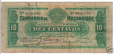 Portugal Mozambique 10 Centavos 1933 Pick R 25 Look Scan