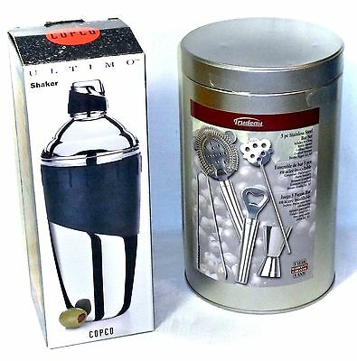 Copco Stainless Steel Cocktail Shaker & Trudeau 5 Piece S/s Bar Set Boxed New
