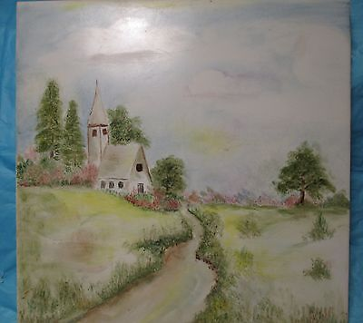 Vintage Italian Tile Landscape Country Church CEDIT ITALY Hand Painted Signed