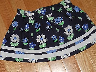 "NWT -  Gymboree ""Spring Prep"" navy, white & green flowered skirt - 4T girls"