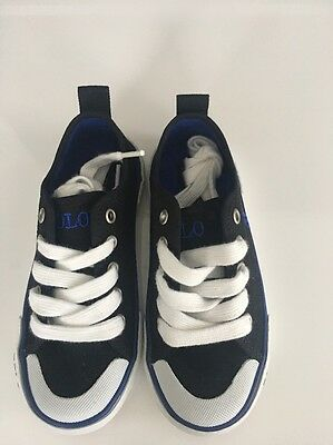 Brand New Boys Ralph Lauren Polo Shoes Trainers Sz Uk 10.5 Cost £60
