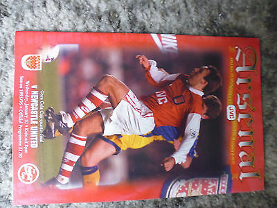 Programme  Arsenal v Newcastle  Coca Cola Cup 1995-96 - Mint Condition.