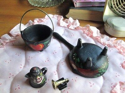Cast IRON MINITURE 4 PC. LOT DOLL HOUSE OR COLLECTION-COFFEE POT,MUSICAL-POTS