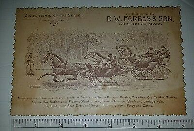 RARE D W Forbes & Son Sleigh Makers 1880s Westboro MA Greetings VictTrade Card