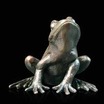 Small Frog Alert Solid Bronze Foundry Cast Sculpture Keith Sherwin (918)