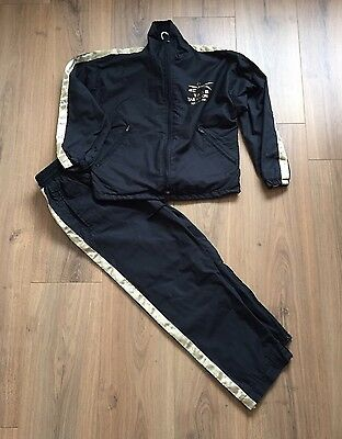 """TAGB Taekwondo Child's Track Suit Black & Gold Size 28"""" Approx Age 6-7yrs"""