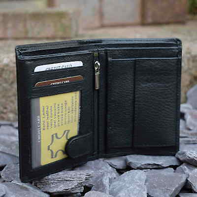 Mens REAL Leather Wallet | Black | 14 Credit Card Pockets | FREE Shipping