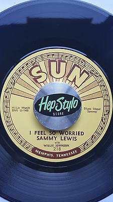 SAMMY LEWIS 45 RE- I FEEL SO WORRIED - AWESOME SUN RECORDS 50s BLUES BOPPER