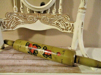 """Vintage Retro Wood Rolling Pin Strawberries Signed 16 1/2"""""""