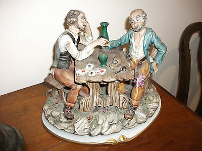 Capodimonte Two Old Men Playing Cards