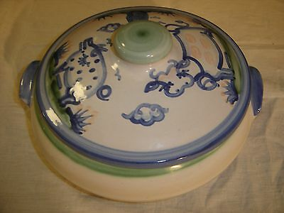 M A Hadley Country Scene Covered Casserole Double Handles w/ Cow & Pig Lid 8536