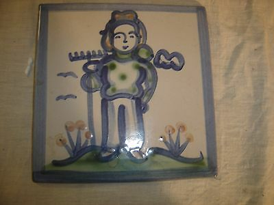 M A Hadley Country Scene Square Tile of a Farmer, trivet, wall hanging 8569