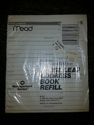 """Mead Loose-Leaf 6-Ring Address Book Refill, 5-3/4 x 4-3/4"""" 50 sheets 67232 67148"""