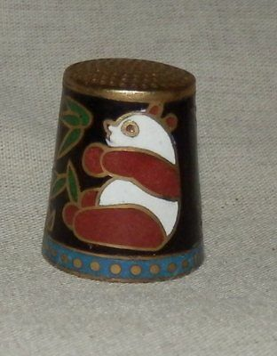Beautiful cloisonné thimble - brown and white panda