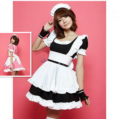 Cosplay Game French Housekeeper Maid Outfit Waitress Fancy Dress Ruffle Costume