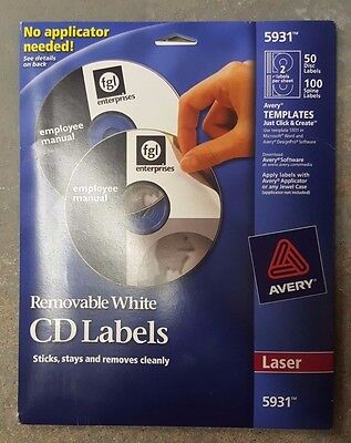 New Avery 5931 Removable CD/DVD Labels 50 Disk/100Spine Labels
