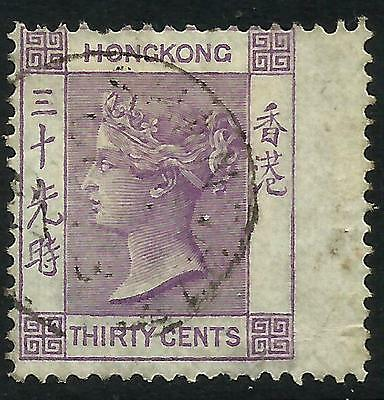 Hong Kong 1863 QV 30 cents Mauve Right Wing Margin Fine Used