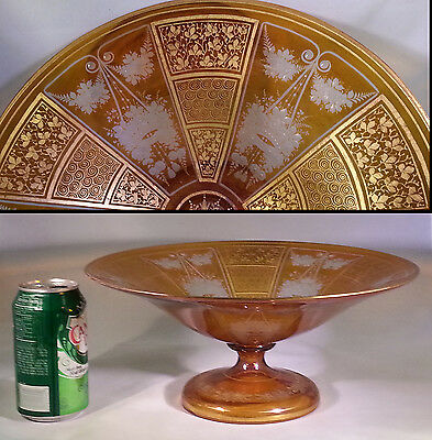 "Magnificent Bohemian Gilt & Engraved 12"" Footed Centerpiece Bowl"
