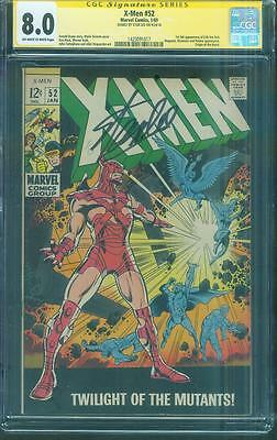 X Men 52 CGC 8.0 SS Stan Lee Signed 1st Erik the Red 1969 Origin of Beast OW/W
