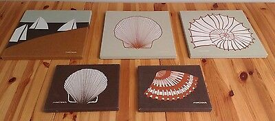 Lot of 5 Vintage Marushka Stretched Canvas Prints Art Shells Sailboats Beach 70s