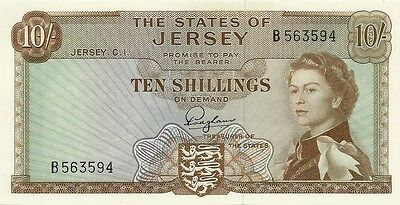 States Of Jersey 10 Shillings 1963 ~ P-7 ~ Prefix B ~ Gem Crisp Uncirculated