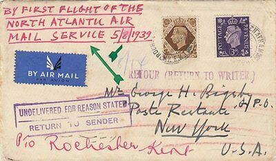 AVIATION :1939 First British Airmail across the Atlantic 4 AU 39 + cachets