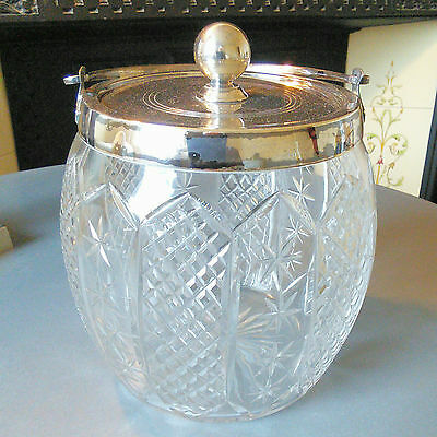 Antique Mappin and Webb Silver Plate Cut Glass Biscuit Barrel