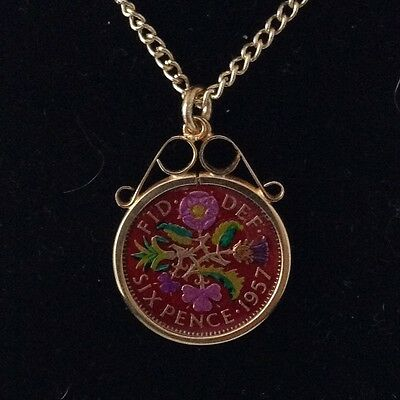 1957 Elizabeth II Enamelled Sixpence Coin Pendant. Red/gold/colour. 60th B'day