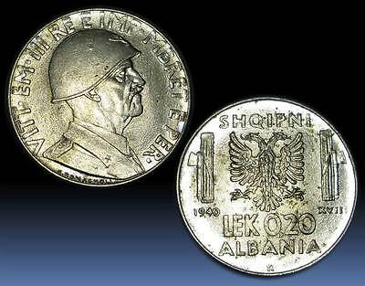 Albania 1940 Coin - 0.20 Lek Magnetic - Italy Occupation - 18