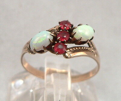 Antique Victorian 9K GOLD OPAL Cabochon & Red Glass Jewel RING Edwardian 1.3g