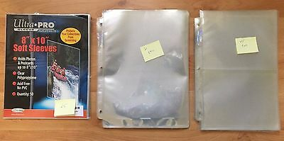 Lot of 8x10 and 5x7 archival photo sleeves and pages, new/used, loose/for binder