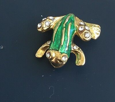 Adorable Vintage Petit Frog Pin In Gold  Tone Metal With Crystals.